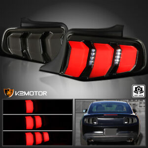 Black Smoke For 2010 2012 Ford Mustang Led Sequential Signal Tail Lights 10 12