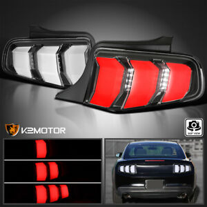 For 2010 2012 Ford Mustang Black Led Sequential Signal Tail Lights Lamps 10 12