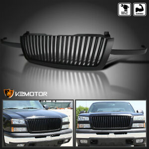 For 2003 2005 Chevy Silverado Avalanche Matte Black Vertical Front Hood Grille