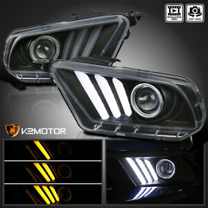 Fits 2010 2014 Ford Mustang Black Projector Headlights Sequential Led Signal Drl