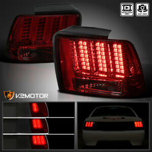Fits 1999 2004 Ford Mustang Red Smoke Sequential Led Signal Tail Lights Lamps