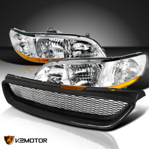 For 1998 2002 Honda Accord 2dr Coupe Clear Headlights front Hood Bumper Grille