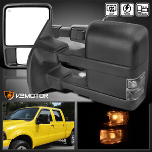 For 1999 2016 Ford F250 F350 Super Duty Power Heated Tow Mirrors W Smoke Signal