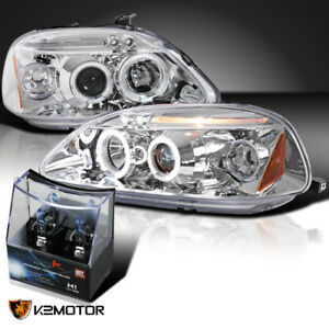 For 1996 1998 Honda Civic Clear Led Halo Projector Headlights H1 Halogen Bulbs