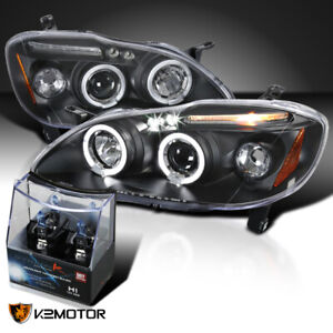 For 03 08 Toyota Corolla Black Led Halo Projector Headlights H1 Halogen Bulbs