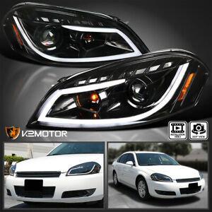 Jet Black For 2006 2013 Chevy Impala Led Drl Projector Headlights Signal Lamps