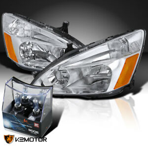For 2003 2007 Honda Accord 2 4dr Headlights 2x 9006 Hb4 Halogen Light Bulbs
