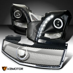 For 2003 2007 Cadillac Cts Black Led Halo Projector Headlights mesh Hood Grille
