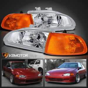 For 92 95 Honda Civic Eg Eh 2dr 3dr Headlights amber Corner Lamps 4pc 93 94