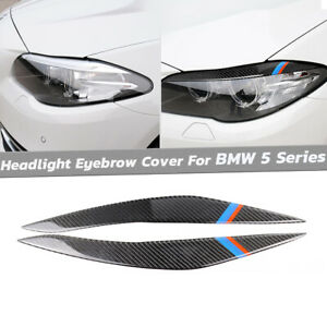 For Bmw 5 Series F10 2010 13 Parts Carbon Fiber Headlight Eyebrow Lid Cover Trim
