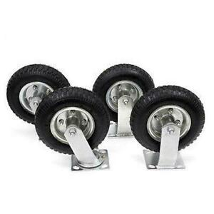 4 Pcs 8 Air Tire Pneumatic 2 Swivel Casters Cart Farm Caster High Quality New