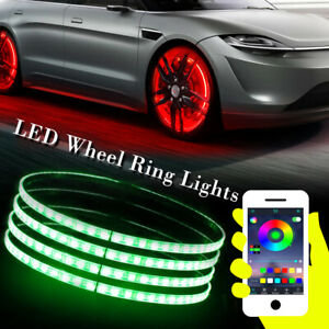 4 X Led Wheel Ring Lights Kit Rgb Color Chasing 360leds Bluetooth Controlled Suv