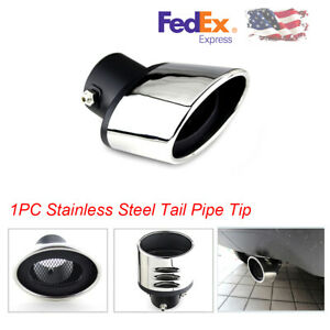 1pcs Black Side Car Stainless Steel Exhaust Pipe Muffler Tail Tip Universal usa