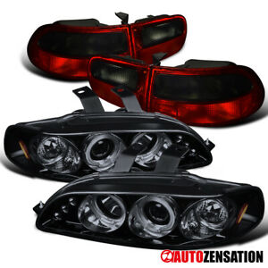 For 92 95 Honda Civic 3dr Glossy Black Halo Projector Headlights smoke Tail Lamp