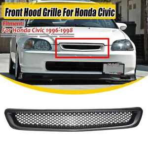 Front Hood Mesh Grill Grille Abs Carbon Fiber For 96 98 Honda Civic Ek Jdm Cx Dx