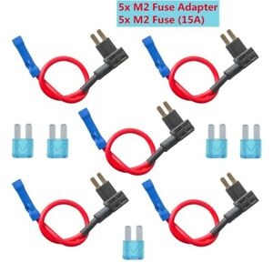 5 Sets Micro2 15a Fuse Tap Add a circuit Blade Mini Fuse Holder Fuse Adapter