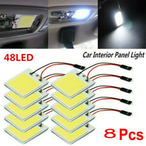 8pcs Dome Lamp Bulb 48smd Cob White Panel Led T10 Car Interior Panel Light 12v