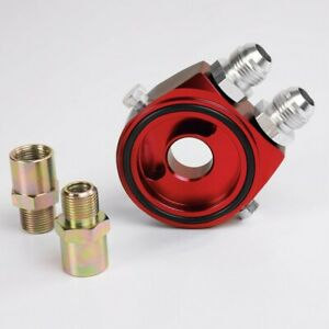 Red Aluminum Oil Filter Cooler Sandwich Block Adapter Gauge Sensor Plate An10