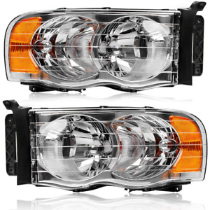 Headlights Fit For 2002 2005 Dodge Ram 1500 02 05 Ram 2500 3500 Headlamp Pair