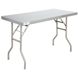 Folding Work Table Prep Station Stainless Steel Open Base Long lasting Foot Caps