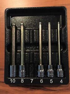 Snap on Tools Fablm Long Hex Ball Socket Set Tray Incomplete Set Missing 7