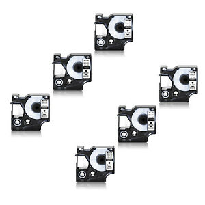 6pk Compatible For Dymo D1 12mmx7m 45013 Label Tape Black On White 1 2 X 23