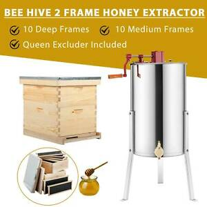 Complete Bee Hive 10 frame 1 Deep Box 1 Medium Box 2 Frame Honey Extractor