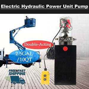 12v Double Acting Hydraulic Pump For Dump Trailer 10 Quart Metal Reservoir New