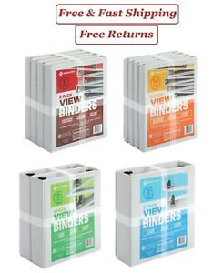 1 1 2 2 3 White View Binders Round O Ring D Ring 2 4 Or 8 Pack