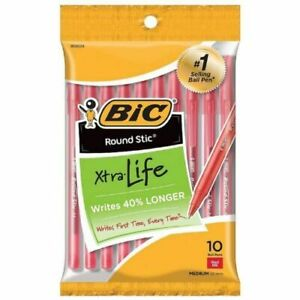 Red Ink Bic Ballpoint Pens Xtra life Pack Of 10 New And Sealed
