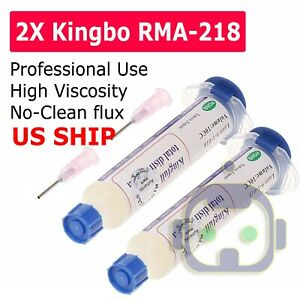 Flux Kingbo Rma 218 Soldering Syringe 2 Pack Plunger needle Fast Shipping Usa