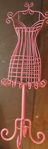 Pink Wire Metal Dress Form Mannequin Table Top Decorative Jewelry Tree