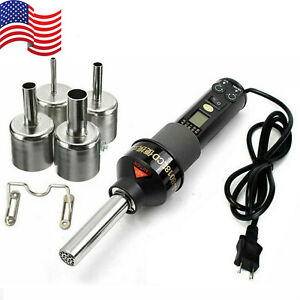 200w 110v Lcd Display Electronic Hot Air Heat Gun Soldering Station W 4 Nozzles