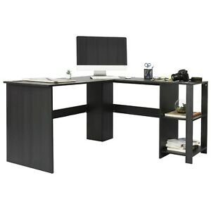 Aiden L shaped Corner Computer Desk Table Large And Spacious For Dual Monitors