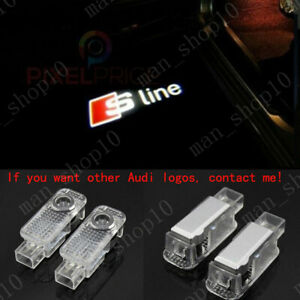 2x Led Car Door Light Logo Courtesy Projector Ghost Laser Lamp Hd For Audi Sline