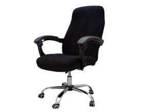Melanovo Computer Office Chair Cover Universal Stretch Desk Chair Rotating Black