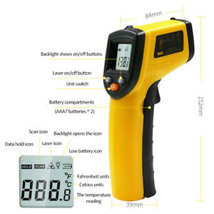Lcd Digital Temperature Meter Gun Non Contact Infrared Thermometer Pyrometer Usa