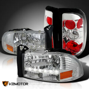 Fits 1997 2004 Dodge Dakota Clear Smd Led Drl Headlights Rear Tail Lamps 4pc