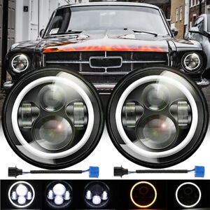 For Ford Mustang 1965 1978 7 Inch Black Led Headlight Halo Ring Angel Eye Pair