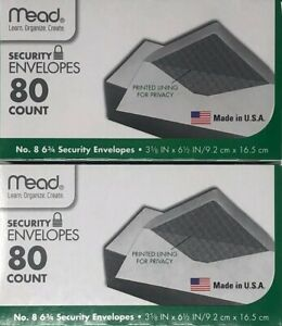 2 pk Mead Security Envelopes 6 3 4 8 3 5 8 X 6 1 2 In 80 ct Ea