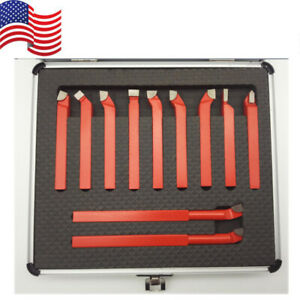 11 Pcs Carbide 3 8 Tip Tipped Cutter Tool Bit Cutting Set Metal Lathe Tooling