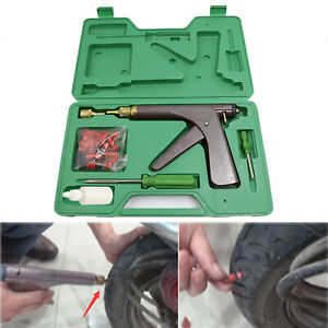 Tubeless Tire Puncture Repair Tool W Tire Mushroom Plugs Vacuum Gun Kit