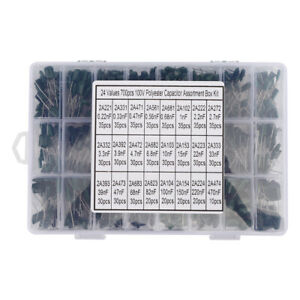 100v Capacitors Assortment Kit 24 Types Polyester Film Capacitors Tv For Radio