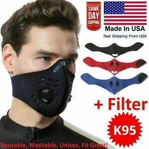 Washable Cycling Face Mask With Active Carbon Filter Breathing Valves Reusable