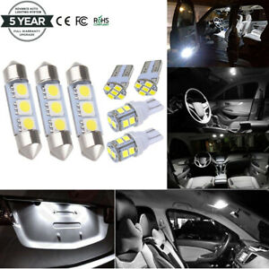 8 White Led Dome Map License Plate Light Bulbs Interior Led Package Kit For Car