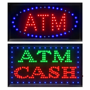 Bright Led Neon Light Atm Atm Cash Open Busines Sign W On off Animated Switch