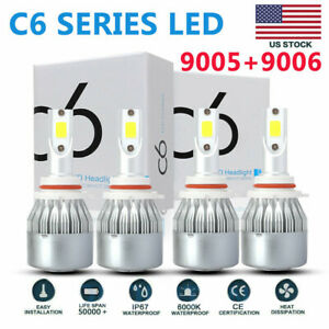 C6 9005 9006 Combo Led Headlight Kit 200w 40000lm Hi lo Beam Bulbs 6000k White