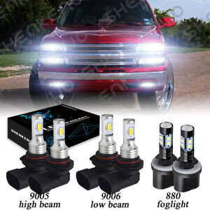 6000k Led Headlights Fog Lights Kit For Chevy Silverado 1500 2500 Hd 1999 2002