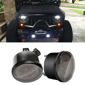2pcs Front Amber Led Turn Signal Lights For Jeep Wrangler Jk smoke Lens