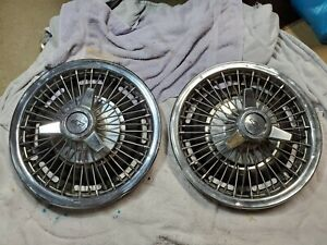 Rare 2 1964 66 Chevy Impala Chevelle 14 Wire Spoke Spinner Hubcap Wheel Cover